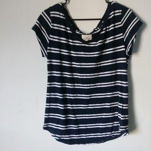 Hollister Medium Blue Stripe V-neck Tee Shirt